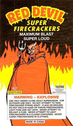 Red Devil - Firecracker Brick Label by Aeron Alfrey, on Flickr + OTHER VINTAGE FIRECRACKER PACKAGING
