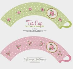 Items similar to SWEET ROSE Tea Cup Printable Cupcake Wrappers / Favour Holders - Tea Party Polka Dot Rose Design (Option (Choose your colours) on Etsy Party Printables, Free Printables, 3d Templates, Paper Crafts, Diy Crafts, Cupcake Wrappers, Cupcake Liners, Rose Tea, Wonderland Party