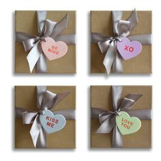 Letterpress gift tags are a charming twist on traditional sugary conversation hearts. #CamilleStyles