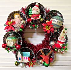 Here is a fun Christmas wreath made with vintage and new materials!This whimsical holiday wreath features lots of vintage metal swirly molds, each full of vintage Chri. Vintage Christmas Crafts, Christmas Card Crafts, Primitive Christmas, Retro Christmas, Homemade Christmas, Christmas Projects, Winter Christmas, Holiday Crafts, Christmas Holidays