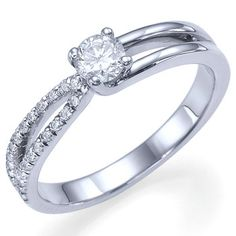 Beautiful split shank diamond engagement ring is available from 0.20 carat to 2.00 carat beautiful natural round brilliant cut sparkling white center