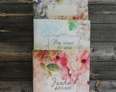 Carnets de notes fait main, peinture de fleurs imprimée sur papier épais, journal de bord, cadeau de papeterie style bohème, lot 3 carnets de la boutique ruedesouvenirs sur Etsy