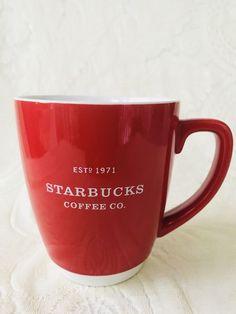 51d155daab8 Starbucks Red Christmas Mug 2008 Red White 16oz Est 1971 Jumbo oversized