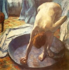 'The Tub' (1886) painted by French Impressionist painter, Edgar Degas (1834-1917) A shallow pan to stand & sponge off it.....perhaps the forerunner of the shower?