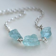Natural Aquamarine Necklace by moonovermaize