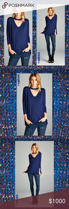 JUST INNavy Choker Soft V-Neck Tunic Top New Navy Choker Top Tunic Loose fit, round neck, three-quarter length sleeve top. Cut out detail at front neckline. Drop shoulder. This top is made with heavyweight knit jersey that is very soft, drapes well and stretches well. Material: Fabric 95% Rayon, 5% Spandex Made in U.S.A Color: Navy Sizes Avail: Small, Medium, Large Fits true to size  PRICE FIRM UNLESS BUNDLED ⭐️⭐️SORRY NO TRADES AND LOWBALL OFFERS WILL BE IGNORED ⭐️⭐️ Glam Squad 2 You Tops…