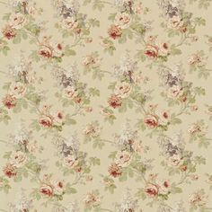 Sorilla - Sanderson Fabrics - A vintage floral design originating from France, a contemporary classic in tumbled linen in fresh natural hues and vintage tones. Shown in the Biscuit / Claret colourway. Please request sample for true colour match. Wallpaper Samples, Fabric Wallpaper, Vintage Flowers, Vintage Floral, Vintage Paper, Sanderson Fabric, Doll House Wallpaper, Made To Measure Curtains, Scrapbooking