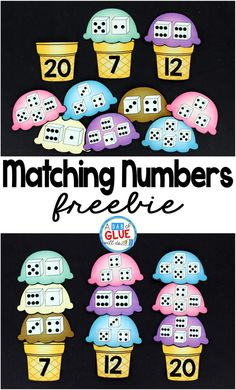Matching Numbers with Ice Cream includes nine pages of ice cream scoops, numbers four through Each ice cream cone has a number written on it and each ice cream scoop has two to four dice. Students will count the number of dots on each dice and then ma Preschool Math, Kindergarten Classroom, Fun Math, Teaching Math, Math Activities, Therapy Activities, Numbers Kindergarten, Science Fun, Teaching Spanish