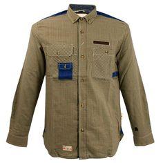 Marshall Artist Farmer's Red Olive Check Shirt MASS13016A