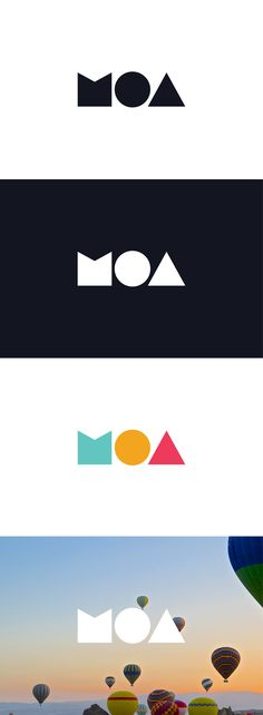 "Logo design for MOA, the first online advertising network in Myanmar. Three stylized and minimal letters (""M"", ""O"", ""A"") serve as brand icons. The lettermark designed by LET'S PANDA, Vancouver."