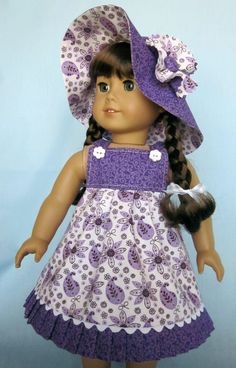 American Girl Doll Clothes  - Sundress and Hat in Purple and White