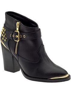 Gold Details Short Black Moto Boots