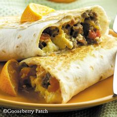 Gooseberry Patch Recipes: Breakfast Burritos - freeze a batch, then just pop in the microwave as you need them!