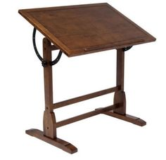 Contemporary Adjustable Drafting Table With Built-In Pencil Groove Antique Brown