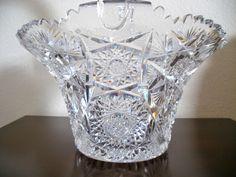 "Large Very RARE 12 1 2"" American Brilliant Period Cut Crystal Glass Basket | eBay"