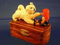 OOAK sculpture Maltese puppy with doll on wooden box