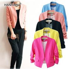 New 2016 Fashionable Solid Women Blazers and Jackets Summer Yellow Red Blue Black Puff Sleeve Slim Short Ladies Blazer Feminino(Hong Kong)