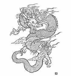 Illustration about Traditional Asian Dragon. This is vector illustration ideal for a mascot and tattoo or T-shirt graphic. Illustration of dragon, black, ethnicity - 33671675 Japanese Dragon Tattoos, Japanese Tattoo Art, Chinese Dragon Drawing, Dragon Tattoo Oriental, Tattoo Drawings, Body Art Tattoos, Wolf Tattoos, Gypsy Tattoos, Tattoos Skull