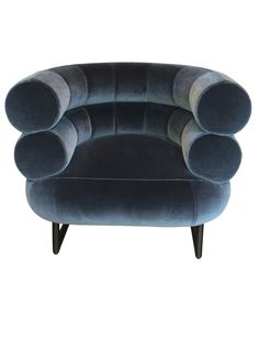 Vintage blue-grey velvet Bibendum armchair by Gray Eileen for ClassiCon, at Gallery Democratic