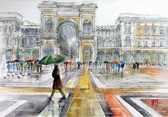 """ Piazza Duomo, Galleria, Milano ""acquerello di Lorenza Pasquali Paintings 35x51  www.lorenzapasquali.it  Copyright © Lorenza Pasquali —"