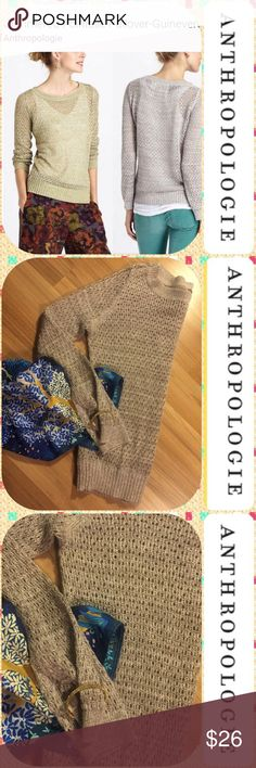 """🌾 Anthropologie Guinevere Med Glimmer Top LS EUC 🌾 Lovely festive pullover sweater! Add a little glamour to the daily """"does"""" or party hearty! Color is a beige with golden glimmers. (Only the sweater is for sale)💫 Anthropologie Sweaters"""