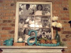 Think outside the frame :) I use an old window to frame my family pictures. The Abbeys summer mantle ;)