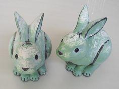 Vintage Ceramic Garden Bunnies outdoor rustic by designfrills