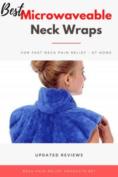 Microwaveable neck wraps deliver deep, moist heat, and are usually made with soft fabric and filled with heat-keeping natural materials, such as corn, wheat, and flaxseed.  We prefer the ones that come with a soothing scent, created by herbal aromatherapy inserted inside and released when you heat the wrap, which immediately helps you relax and relieve stress as well.