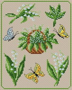 Five different ways to stitch lily of the valley, an ecru canvas with white and green