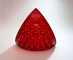Matthew Curtis Red Hexagon Cast & fused and cold worked glass, stainless steel frame 17 x 18.5 x 8 Inches