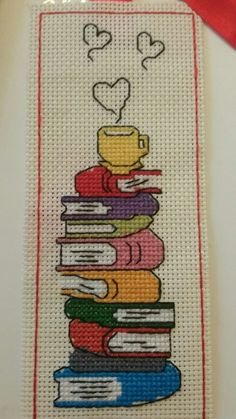 This post was discovered by Lale Erdemir. Discover (and save!) your own Posts on Unirazi.Books and coffee bookmark. Cross Stitch Bookmarks, Cross Stitch Books, Cross Stitch Borders, Cross Stitch Charts, Cross Stitch Designs, Cross Stitching, Cross Stitch Embroidery, Embroidery Patterns, Hand Embroidery