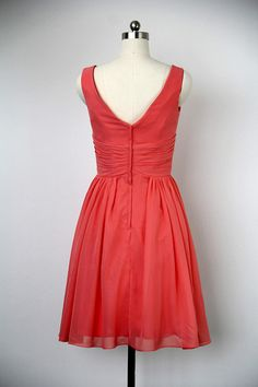 A-line V-neck Knee Length Chiffon Red Bridesmaid by harsuccthing