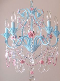 pastel blue and pink rose chandelier for emma rose