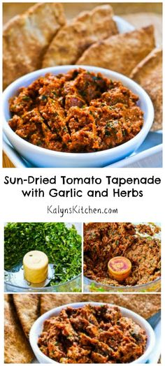 This Sun-Dried Tomato Tapenade with Garlic and Herbs couldn't be easier to make or more delicious. Fresh herbs really put this over the top!  I serve with low-carb pita bread. [from KalynsKitchen.com]