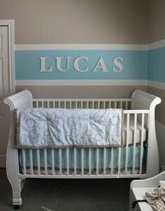 Nursery paint idea...I actually like this for my bedroom except minus the crib and name