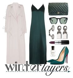 """""""Contest Entry: Slip Dress"""" by adswil ❤ liked on Polyvore featuring Equipment, Christian Louboutin, Chanel, Sally Lapointe, Grey Ant, Eddie Borgo, MAC Cosmetics, Loree Rodkin, Deborah Lippmann and women's clothing"""