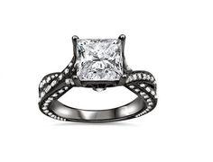 2.35CT PRINCESS CUT DIAMOND CRISS CROSS ENGAGEMENT RING 14K BLACK GOLD $6995 #EngagementRing