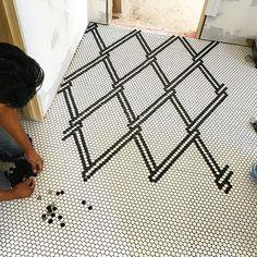 Affordable Tile Design Ideas For Your Home - fanvan. Floor Patterns, Tile Patterns, Floor Design, Tile Design, Penny Tile Floors, Hex Tile, Style Tile, Kitchen Flooring, Bathroom Inspiration