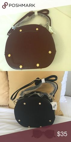 Black round handbag 🆕SALE $35❤️ offers welcome This is a brand new round handbag with a cross body strap as well. Super chic. Love the design. Happy poshing dolls ❤️ glasses not included 😆 Bags