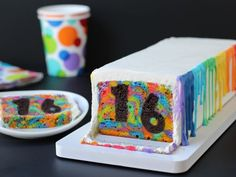Slice and Serve : Step back and watch as the birthday honoree cuts the first slice. Everyone will be delighted to see the numbers set on a swirling tie-dye backdrop.