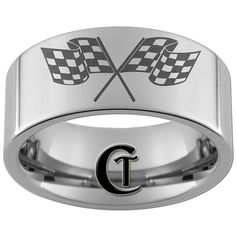 wedding band men checkered flags...I'm so buying dustin one and getting it engraved and everything just like this!