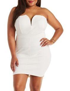 Plus Size Strapless Textured Bodycon Dress #CharlotteLook