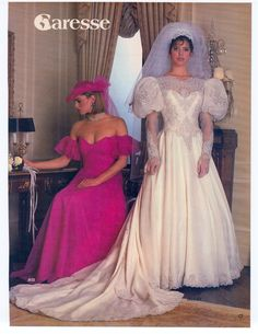1985 [I think the veil would look better in the same color as the dress, or a bit higher or lower. The white doesn't look right. 1980s Wedding Dress, Wedding Dress With Veil, Gorgeous Wedding Dress, Wedding Dress Sleeves, Beautiful Gowns, Wedding Gowns, Chic Vintage Brides, Vintage Gowns, Vintage Bridal