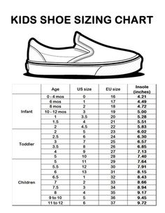 Baby Shoe Sizes: What You Need to Know | Shoe size chart, Charts ...