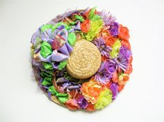 Spring Wreath Bonnet Silk Floral by SandyNewhartDesigns