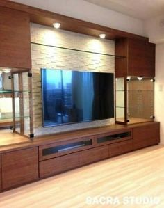 50 wall tv cabinet designs ideas for cozy family room tv cabinet design, Tv Cabinet Design, Tv Wall Design, House Design, Tv Unit Decor, Tv Wall Decor, Wall Tv, Karton Design, Tv Wanddekor, Modern Tv Wall Units
