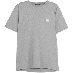Acne Studios Nash Face appliquéd cotton-jersey T-shirt ($130) ❤ liked on Polyvore featuring tops, t-shirts, light gray, loose fit tees, cut loose tops, light grey t shirt, cotton jersey t shirt and sleeve t shirt