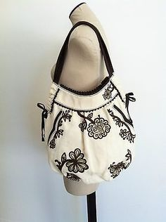 Lucky Brand Ivory Canvas Brown Flowers Embroidered Shoulder Bag Hobo