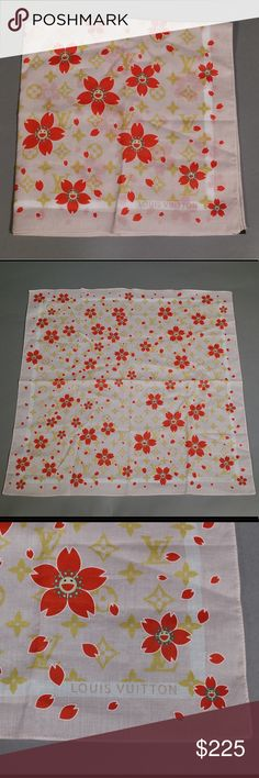 (RARE) Louis Vuitton Murakami Cherry Blossom Scarf *Ships same or next day*  *Reasonable offers welcome*   - Limited production Murakami Cherry Blossom, no longer available  - Light Pink color  - Thin, 100% Cotton Scarf - Made in Italy  - Soft, luxurious feel  - No stains/ marks/ fraying noticed anywhere - No perfume or abnormal odor noticed  - Looks New! Louis Vuitton Accessories Scarves & Wraps