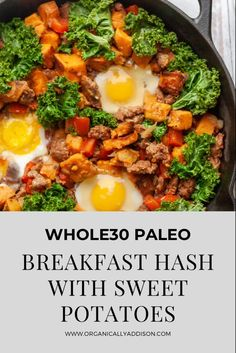 This is the best Whole30 Breakfast Hash! This one skillet meal can be made with or without eggs. It is hearty, flavorful and healthy. This homemade recipe is Paleo, Whole30 approved, gluten free, and sugar free. Quick Lunch Recipes, Best Paleo Recipes, Whole 30 Recipes, Healthy Breakfast Recipes, Easy Dinner Recipes, Whole 30 Breakfast, Breakfast Hash, Clean Eating Breakfast, Breakfast Lunch Dinner